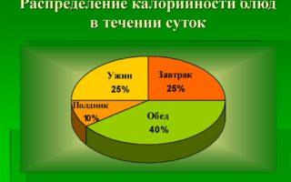 распределение калорий в течение дня